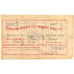 Oakland Mining and Milling Company Stock Certificate  (91806)