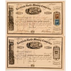 Rockdale Gold Mining Company Stock Certificate Pair  (91873)