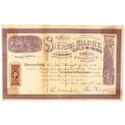 Sierra Madre Gold Mining Company Stock Certificate  (91771)