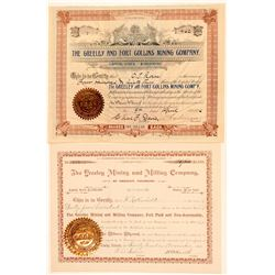 Two Different Greeley, Colorado Mining Stock Certificates  (91613)