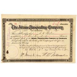 Adams Prospecting Company of Colorado Stock Certificate  (91750)