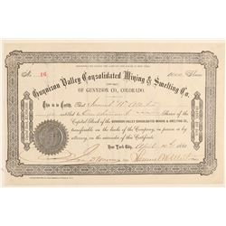 Gunnison Valley Consolidated Mining & Smelting Co. Stock Certificate  (91796)