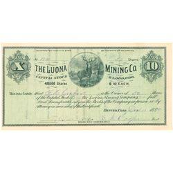 Luona Mining Company Stock Certificate  (91740)