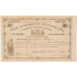 Americus Mining Co. Stock Certificate Issued to Founder of Glenwood Springs  (91596)
