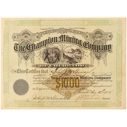 Champion Mining Company Stock Certificate  (100872)