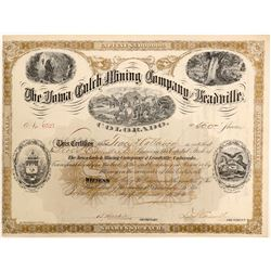 Iowa Gulch Mining Co. of Leadville Stock Certificate  (102502)