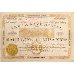 La Fave Mining & Milling Co. Stock Certificate  (102501)