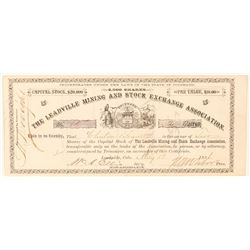 Leadville Mining & Stock Exchange Association Stock Signed by Tabor  (91591)