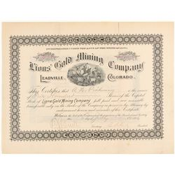 Lions' Gold Mining Company Stock Certificate  (91814)