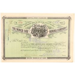 Miner Boy Mining Company Stock Certificate  (91807)