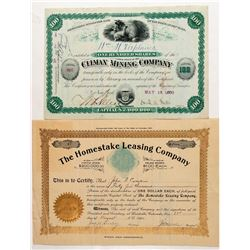 Two Different Leadville, Colorado Mining Stock Certificates  (91793)