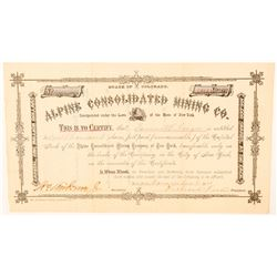 Alpine Consolidated Mining Co. Stock Certificate  (91555)
