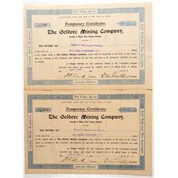 Goldore Mining Company Stock Certificate Pair  (91794)