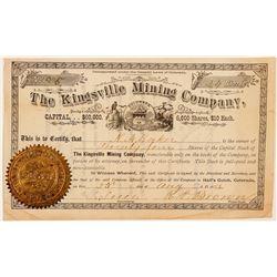 Kingsville Mining Company Stock Certificate w/ Rare Dateline  (91599)