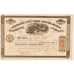 Sterling City Gold & Silver Mining & Tunneling Co. Stock Certificate  (100817)