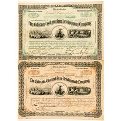Colorado Coal & Iron Development Co. Stock Certificates  (100722)