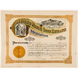 The Pueblo Mining Stock Exchange Stock Certificate   (91852)