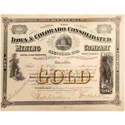 Iowa & Colorado Cons. Mining Co. Stock Certificate  (102503)
