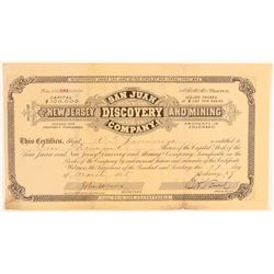 San Juan & New Jersey Discovery & Mining Co. Stock Certificate   (91797)