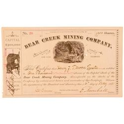 Bear Creek Mining Company Stock Certificate  (91617)