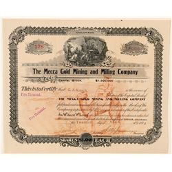 Mecca Gold Mining & Milling Co. Stock Certificate  (91722)