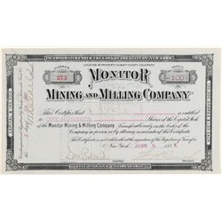 Monitor Mining & Milling Company Stock Certificate  (91842)