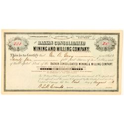Baskin Consolidated Mining & Milling Co. Stock Certificate  (91565)