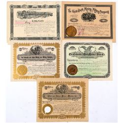 Five Different Colorado Mining Stock Certificates   (91763)