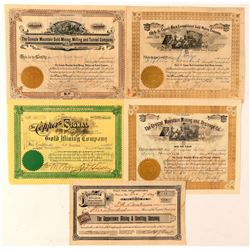 Five Different Colorado Mining Stock Certificates   (91832)