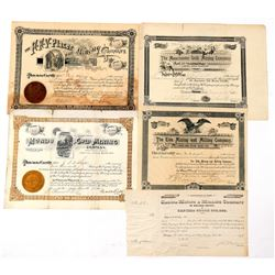 Five Different Colorado Mining Stock Certificates   (91765)