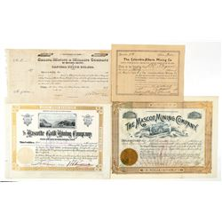 Four Different Colorado Mining Stock Certificates  (91766)
