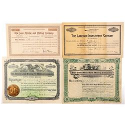 Four Different Colorado Mining Stock Certificates  (91728)