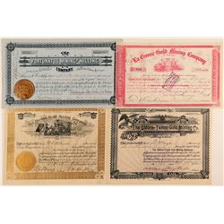 Four Different Colorado Mining Stock Certificates  (91833)