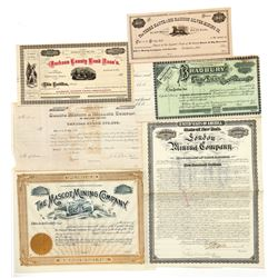 Six Different Colorado Mining Stock Certificates  (91767)