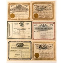 Six Different Colorado Mining Stock Certificates  (91830)