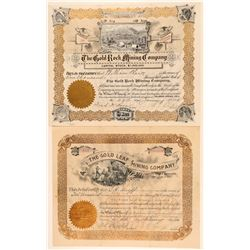"Two ""Gold"" Colorado Mining Stock Certificates  (91834)"