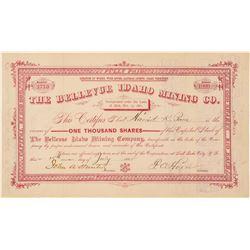 Bellevue Idaho Mining Company Stock Certificate  (100951)