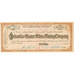 Columbia & Beaver Silver Mining Co. Stock Certificate  (100948)