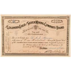 Columbia Gold & Silver Mining Co. of Idaho Stock Certificate  (100947)