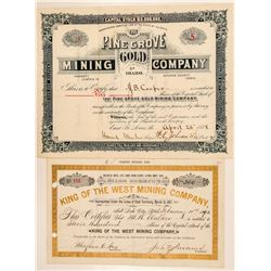 Two Different Alturas County, Idaho Mining Stock Certificates  (101566)