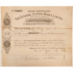 Dickens Custer Mines Limited Stock Certificate  (100945)