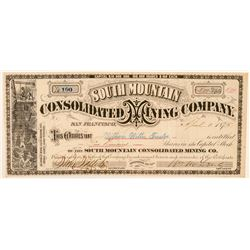 South Mountain Cons. Mining Co. Stock Certificate (GT Brown Lith)  (100956)