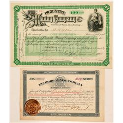Two Idaho Mining Stock Certificates  (101567)