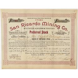 San Ricardo Mining Company Stock Certificate  (100892)