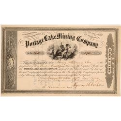 Portage Lake Mining Company Stock Certificate  (102210)