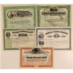 Five Different Michigan Mining Stock Certificates  (102209)