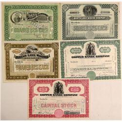 Five Michigan Mining Stock Certificates   (102212)
