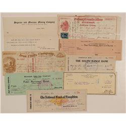 Michigan Mining Check Collection (Plus 1 Billhead)  (102235)