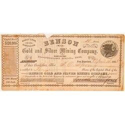 Benson Gold & Silver Mining Co. Stock Certificate  (100927)
