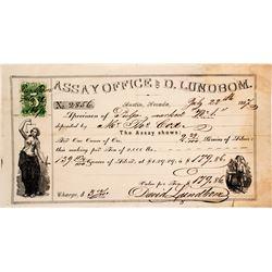 D. Lundbom Assay Office Receipt, Austin, Nevada, 1867  (50908)
